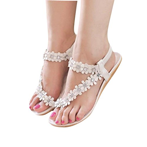 Tenworld Women Summer Bohemia Flat Sandals Flower Beads Beach Flip-flop Shoes (7, White)