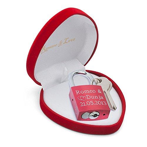 remmo love luxus liebesschloss rot in herz box mit gravur. Black Bedroom Furniture Sets. Home Design Ideas
