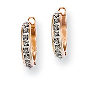 IceCarats Designer Jewelry 14K Rose Gold Diamond Fascination Round Hinged Hoop Earrings