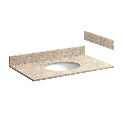 Foremost ST37228WH 37-Inch Wheat Granite Vanity Top with Pre-Attached Undermount Sink and 8-Inch Faucet Centers