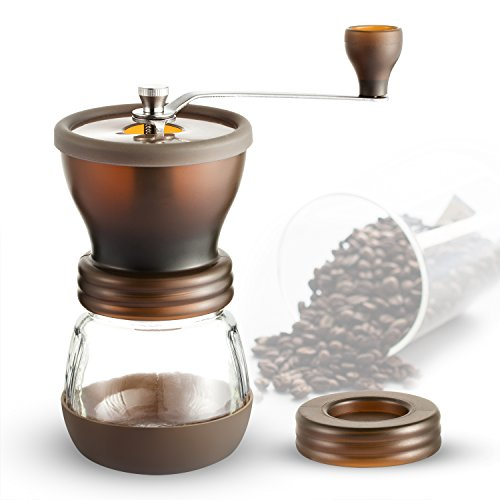Coffee Grinder, Coolife Portable Manual Coffee Grinder with Adjustable Ceramic Burr Hand Coffee Bean Grinder Crank Mill for Home Office and Travel(100 grams Capacity)