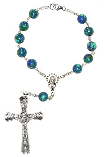 Silver One Decade Auto Rosary made with Azurite Gemstones (Gem Stone Rosary compare prices)