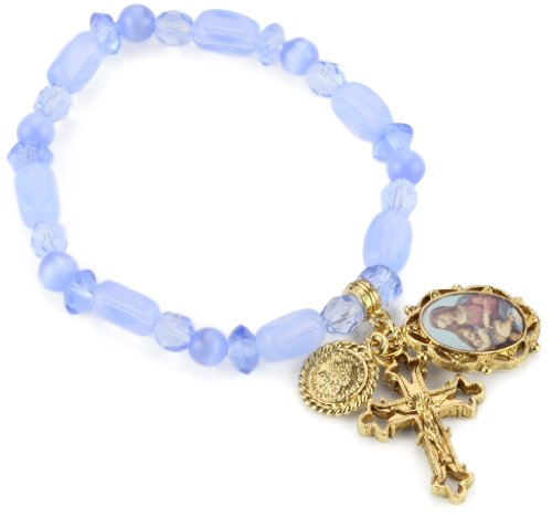 The Vatican Library Collection Blue Beaded Gold-Tone Charm Bracelet