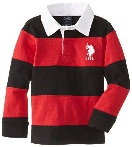 U.S. Polo Assn. Little Boys' Long Sleeve Wide Stripe Rugby Shirt, Black/Red, 4T