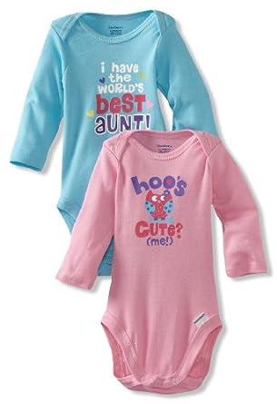 Gerber Baby-Girls Newborn 2 Pack Bodysuits, Pink/Blue, 3-6 Months