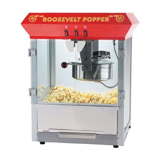 Great Northern Popcorn Red Roosevelt Antique Style Popcorn Popper Machine with 8 Oz Kettle