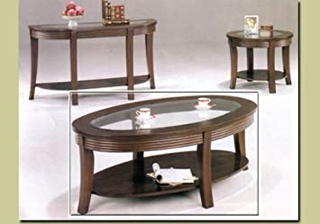 Coaster Ribbed Apron Coffee Table With Glass Top, Cappuccino Finish