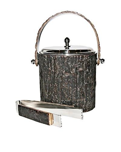 Frances Stoia Walnut Bark Ice Bucket & Tongs