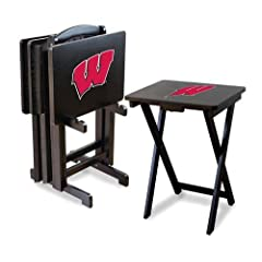 NCAA Wisconsin Badgers TV Snack Trays with Storage Rack (Set of 4) by Imperial