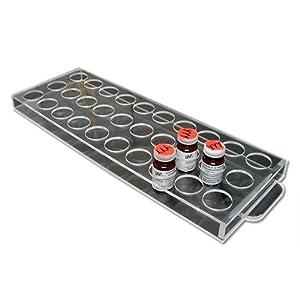 Bel-Art Scienceware 185132300 Acrylic Standards Bottle Rack for 23mm, 30 Bottle, Clear