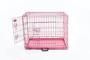 """Pink Dog or Puppy Metal Training Cage Crate XL (Pink 42"""" cage)"""