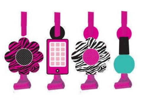 Creative Converting Pink Zebra Boutique Birthday Party Blowouts, 8 Favors Per Package - 1