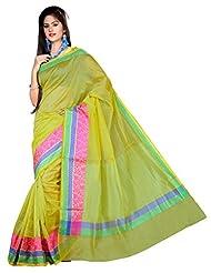"Asavari ""Office Attire"" Pistachio Green Supernet Cotton Banarasi Saree With Triple Weaved Borders"