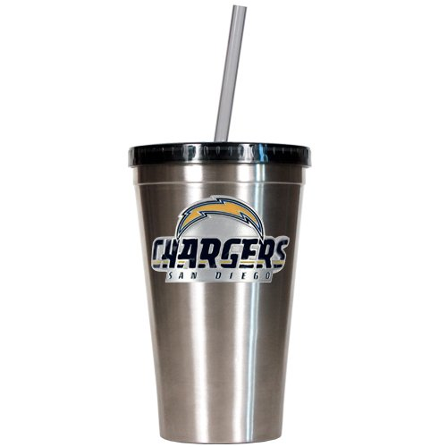 Nfl San Diego Chargers 16-Ounce Stainless Steel Insulated Tumbler With Straw front-610165