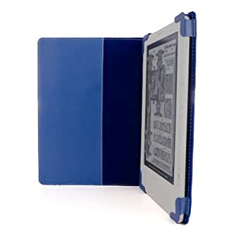 """BLUE iPearl mCover Leather Folio Cover Case with built-in inner pocket for Amazon Kindle DX (Built-in 3G, 9.7"""" E Ink Display)"""