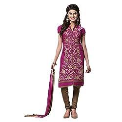 Paridhan Women'S Magenta Cotton Embroidered Suit 008