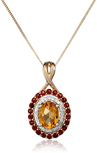 "14k Yellow Gold Citrine, Garnet and Diamond Pendant Necklace, 18""  (1/10cttw, H-I Color, I2-I3 Clarity)"