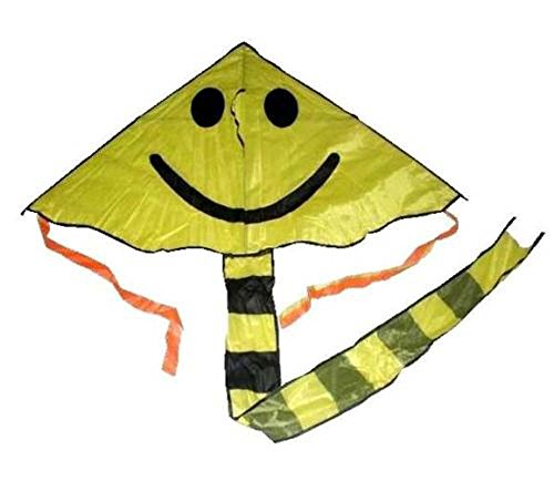 6 Pieces Bulk Lot of Huge Sport Outdoor Flying Yellow Smile Face Kite with String and Handle daisy and the big yellow kite