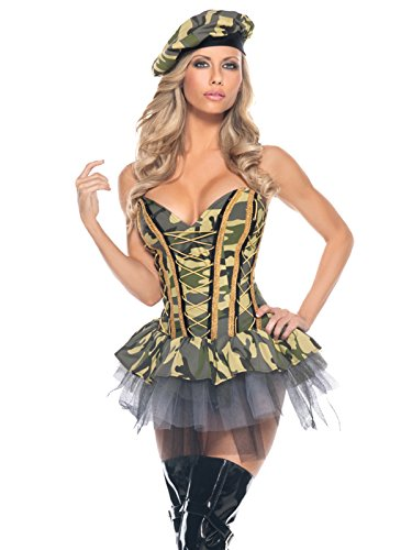 Womens Sexy Army Costume with Camouflage Bustier Dress and Hat 2 Piece Set