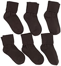 Jefferies Socks Little Girls\'  Seamless Turn Cuff  Socks (Pack of 6), Chocolate, Small