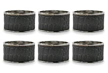 buy Dii Napkin Rings For Dinners, Parties, Everyday, For Dinners, Parties, Everyday, Set Of 6, Black Faux Croc