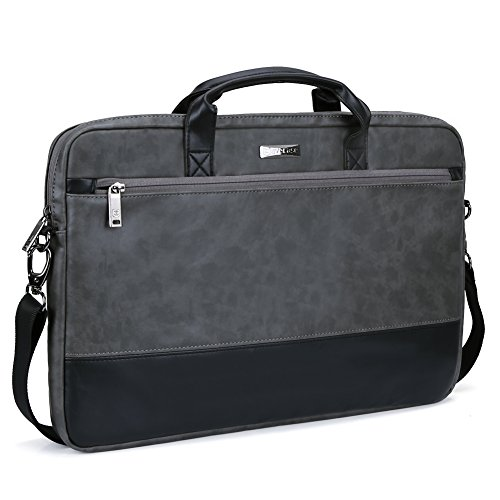 15.6 inch Laptop Shoulder Bag, Evecase Leather Modern Business Tote Briefcase Laptop Messenger Bag with Accessory Pockets ( Fits Up to 15.6-inch Macbook, Laptops, Ultrabooks) - Black / Gray (Hp Touchsmart 15 Protective Case compare prices)