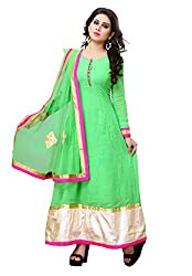 Indian Boutique Green Color Pure Bembre Top with Santoon Inner and bottom and with Chiffon Dupatta