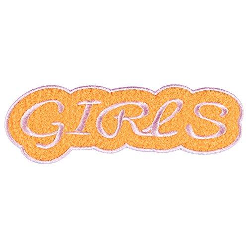 likalla-xl-chenille-aufnaher-aufbugler-girls-in-rosa-und-orange-iron-on-patch-zum-aufbugeln