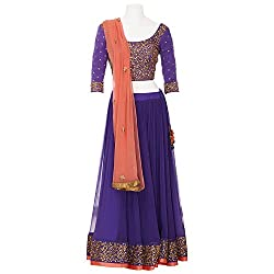 Moh Womens Chiffon Purple Large Lehenga Cholis