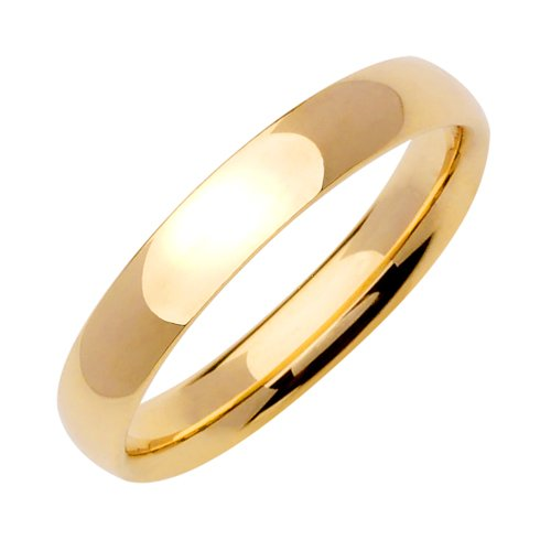 Comfort-Fit Plain Dome Wedding Band in 14k Yellow Gold (4mm)