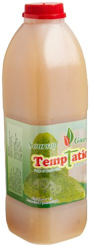 Temptation 100% Pure Costa Rican Fruit Pulp, Soursop, 33.8-Ounce Plastic Bottles (Pack of 12)