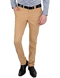 Only Vimal Men's Mustard Slim Fit Cotton Chinos