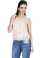 Zovi Polyester Pink Sleeveless Top With Laser Cutting Flower Appliques (S136WOF106301_Large)