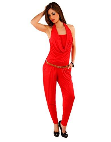 Fashion Few24 Damen Neckholder Overall Catsuit Jumpsuit Wasserfall Einteiler Overall aus Stretch Stoff 11826 (Rot)