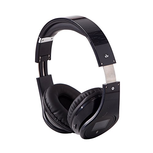 Hde Rechargeable Wireless Bluetooth Over-Ear Foldable Hifi Headphones With Mp3 Player, Fm Radio, Hands Free Calling And Lcd Display (Black)