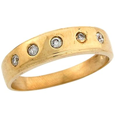 9ct Yellow Gold Beautiful Round CZ Row Men's Wedding Band Ring