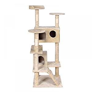 "52"" Cat Kitty Tree Condo Tower Scratching Post Furniture Play Pet House, Beige"