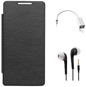 Tidel Black Durable Premium Flip Cover Case For Sony Xperia E4g With 3.5mm Jack Handsfree Earphone & Audio Spliter