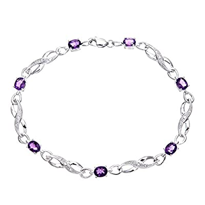 Ariel 9ct White Gold Amethyst and Diamond Crossover Link Bracelet