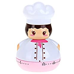 MK Cartoon Chef Design Mechanical Adjustable 60 Minutes Chef Timer Kitchen Timer Cooking Timer - Color May Vary
