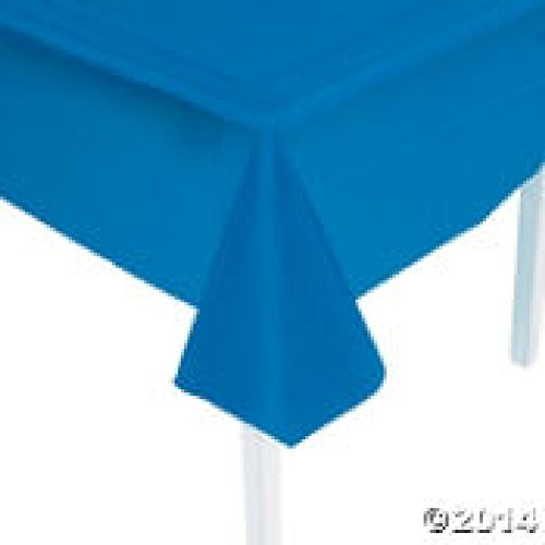 "Economy Blue Plastic Tablecover/Tablecloth ~ 54"" x 108"" ~ Rectangle ~ Disposable by FX - 1"