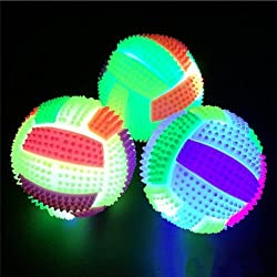 3PCS LED Volleyball Flashing Light Up Color Changing Bouncing Hedgehog Ball Kids Toy