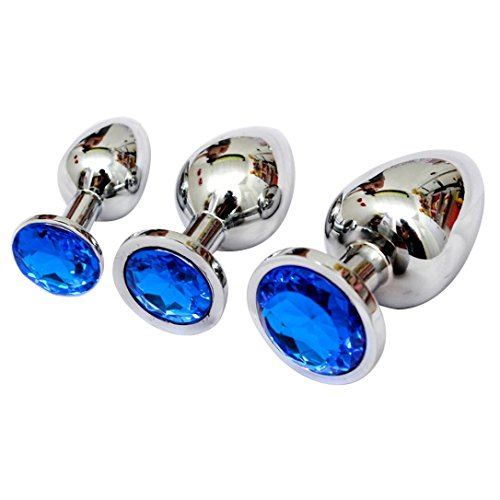 Owill Berg Crystal Silver Colour Metal Backyard Stainless Steel Anal Plug Anal Hitch (8CM, Blue)