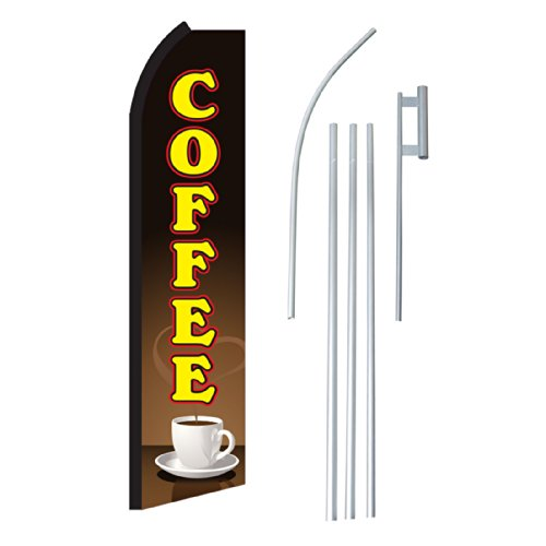 "Neoplex - ""Coffee Cup"" Complete Flag Kit - Includes 12' Swooper Feather Business Flag With 15-Foot Anodized Aluminum Flagpole And Ground Spike"