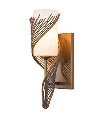 Varaluz Flow 1-Light Wall Sconce, Hammered Ore/White Opal