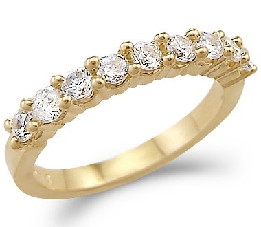 Size- 8.5 - Solid 14k Yellow Gold Ladies CZ Cubic Zirconia Channel Set Wedding Band Ring 1.0 ct