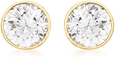 Carissima 9ct Yellow Gold 7mm Round Cubic Zirconia Stud Earrings
