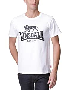 Lonsdale Logo - T-Shirt Sportswear - Homme - Blanc - FR: Small (taille fabricant: Small)