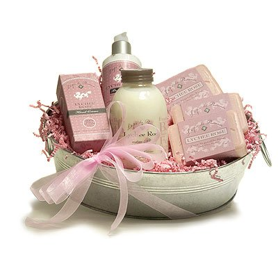 L'Epi de Provence French Soap - Hand Cream - Body Cream - Foam Bath Gift Basket - Lychee Rose