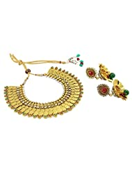 Traditional South Indian Style Gold Plated Temple Ginni Coin Necklace Set Wedding Jewelry